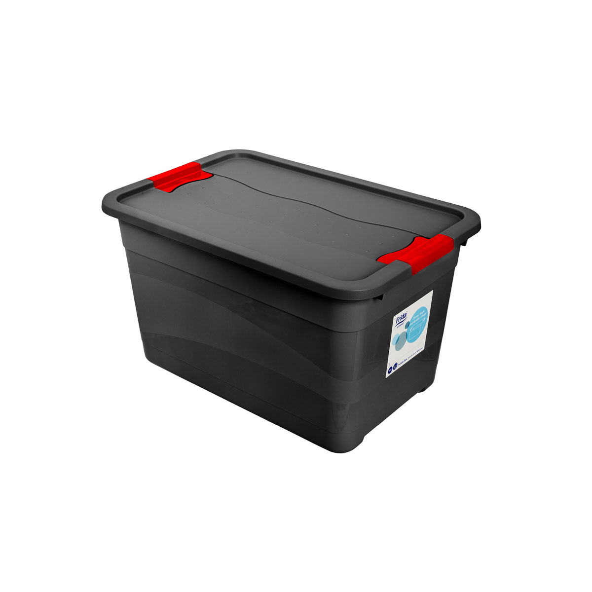 Storage back with lid in extra impact resistant plastic